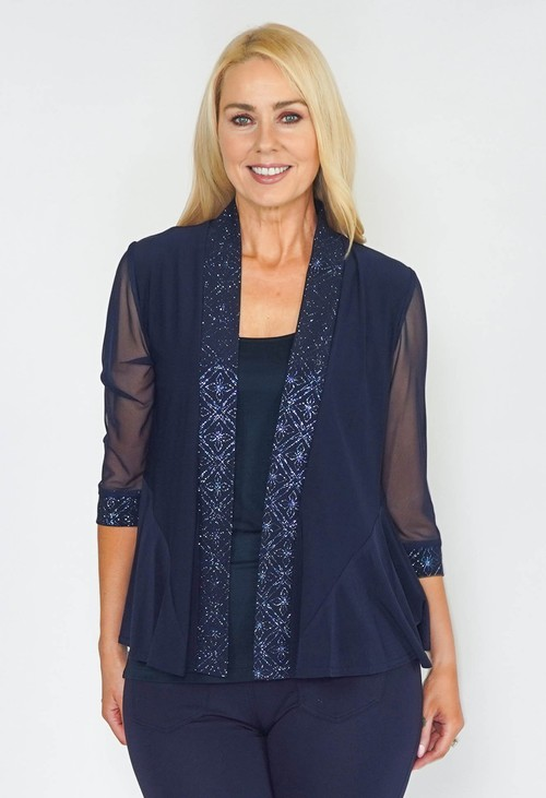 R and M Richard s Navy Glitz Kimono