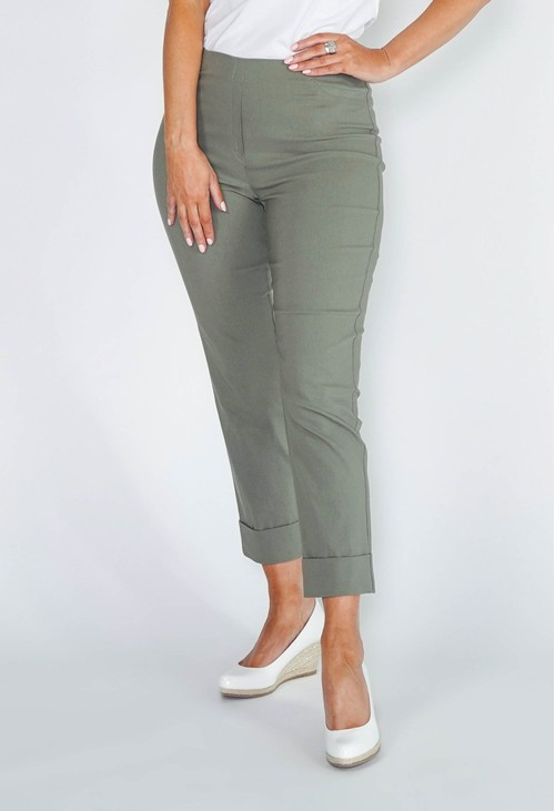 Anna Montana KHAKI GREEN MAGIC SHAPE CROPPED TURN UP TROUSERS