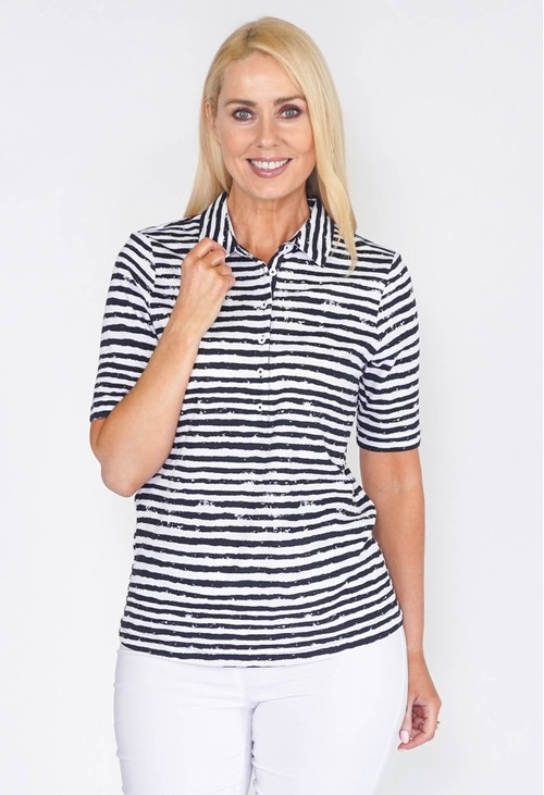 EFRO SHORT SLEEVE POLOSHIRT WITH STRIPE IN NAVY AND WHITE
