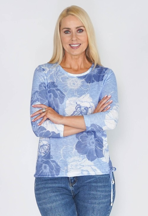 Twist Cosy Blue Floral Top