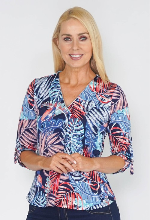 Sophie B TROPICAL LEAF DESIGN TOP WITH PLEAT NECK DETAIL