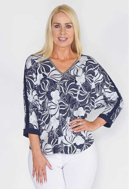 Sophie B TONAL BATWING SLEEVE TOP WITH SLEEVE INSETS AND NECKBAND DETAIL