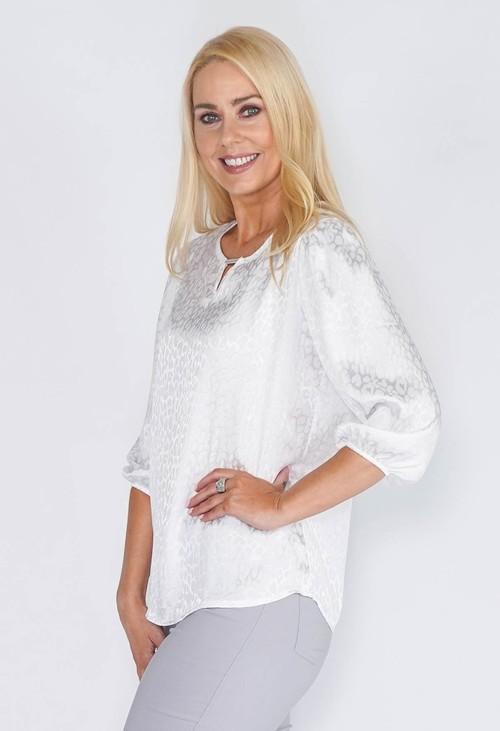 Sophie B Leopard Print White Blouse
