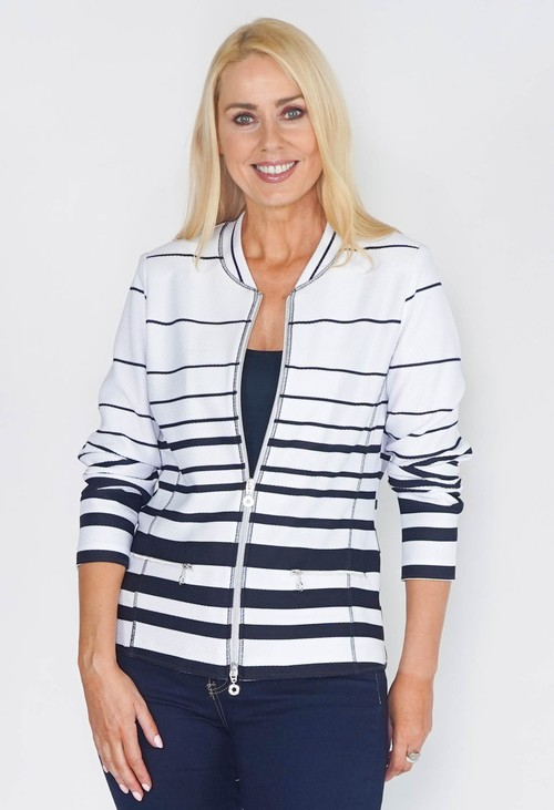 EFRO ZIP THROUGH CARDIGAN IN WHITE WITH NAVY STRIPES.
