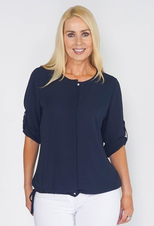 EFRO BLOUSE WITH ELASTICATED HEM IN NAVY.