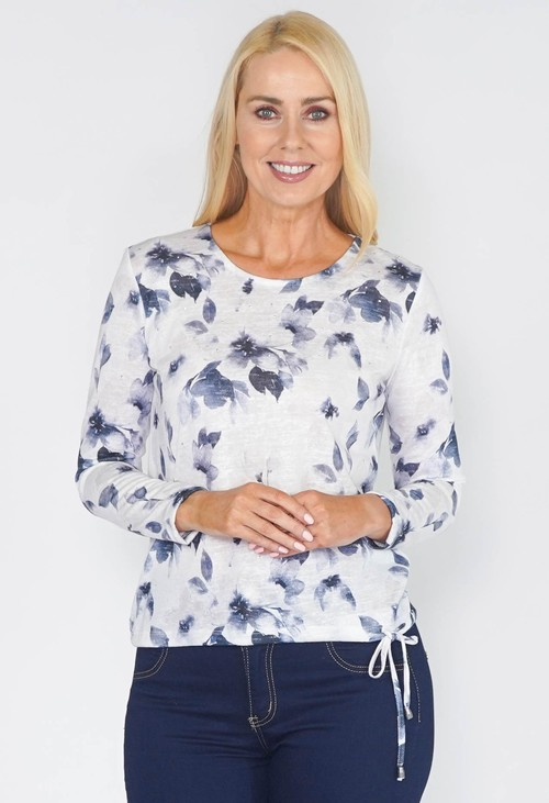 Sophie B SOFT LINEN TOUCH TOP WITH INDIGO FLOWERS