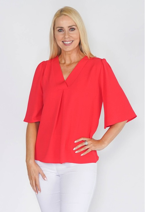 Zapara V NECK BLOUSE WITH CENTRE PLEAT
