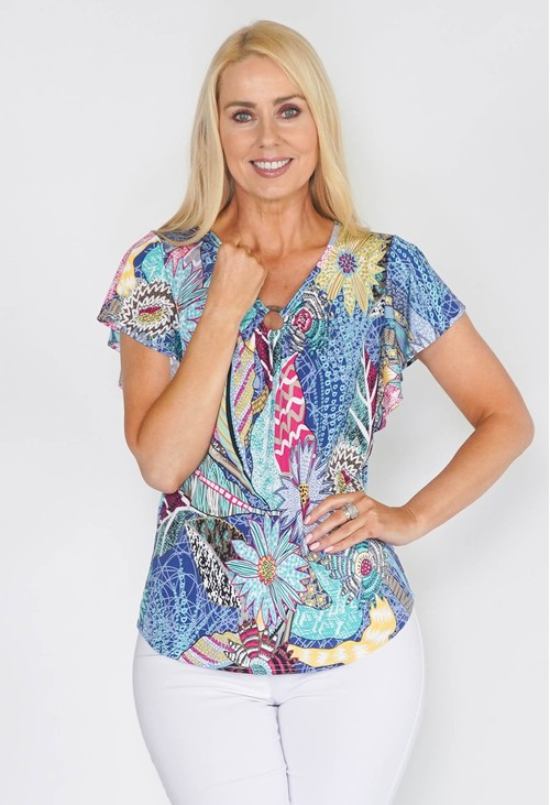Twist CIRCLE DETAIL V NECK TOP WITH ROMANTIC SLEEVE