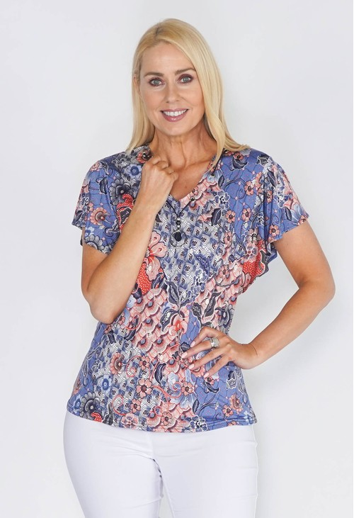 Sophie B ABSTRACT FLORAL PRINT TOP WITH NECK DETAIL