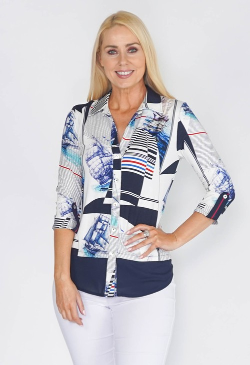 Tinta Style BLOUSE IN NAVY AND OF WHITE NAUTICAL PRINT.