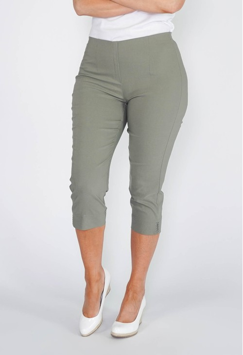 Anna Montana KHAKI GREEN MAGIC SHAPE CAPRIS WITH DIAMANTE DETAIL