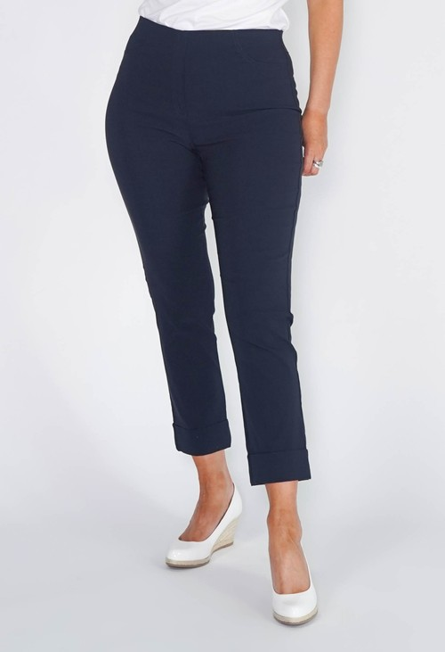 Anna Montana NAVY MAGIC SHAPE CROPPED TURN UP TROUSERS