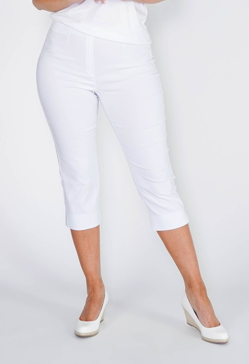 Anna Montana WHITE MAGIC SHAPE CAPRIS WITH DIAMANTE DETAIL