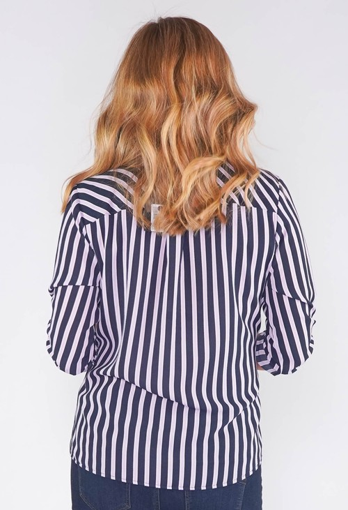 Twist SATIN STRIPE SOFT V NECK ROLL UP SLEEVE BLOUSE
