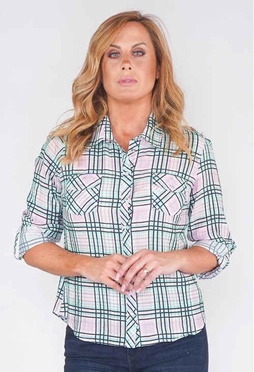 Twist MULTI CHECK BLOUSE IN SOFT CRINKLE FABRIC