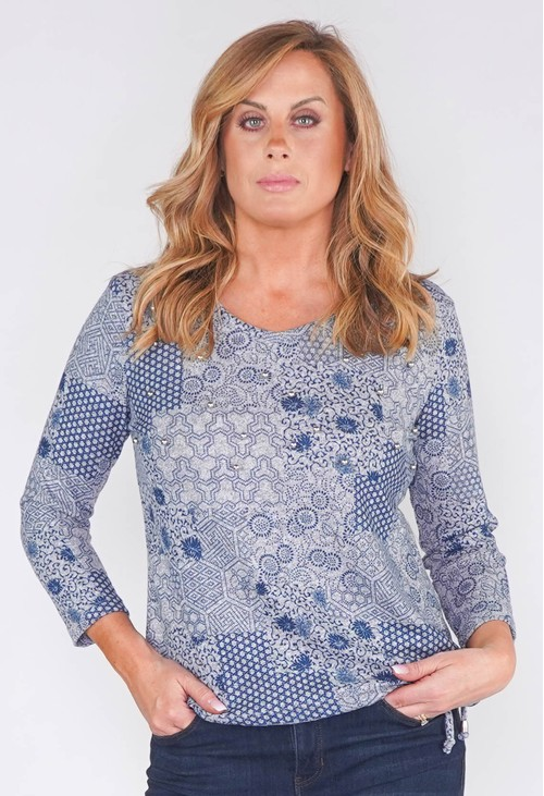 Sophie B GEOMETRIC TONAL DESIGN TOP WITH SILVER PEARL DETAILS