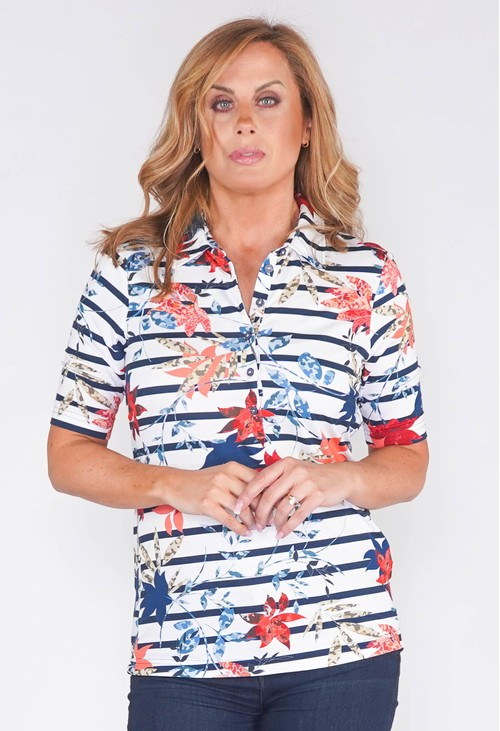 EFRO POLOSHIRT WITH STRIPE AND FLOWER PRINT
