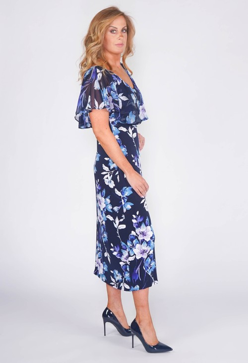Connected CAPELET FLORAL PRINT DRESS IN NAVY.