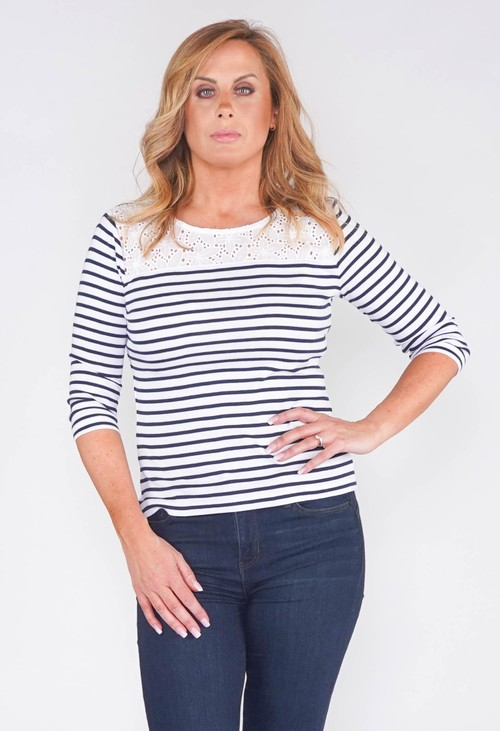 Twist NAUTICAL STRIPE TOP WITH BRODERIE ANGLAISE TOP PANEL