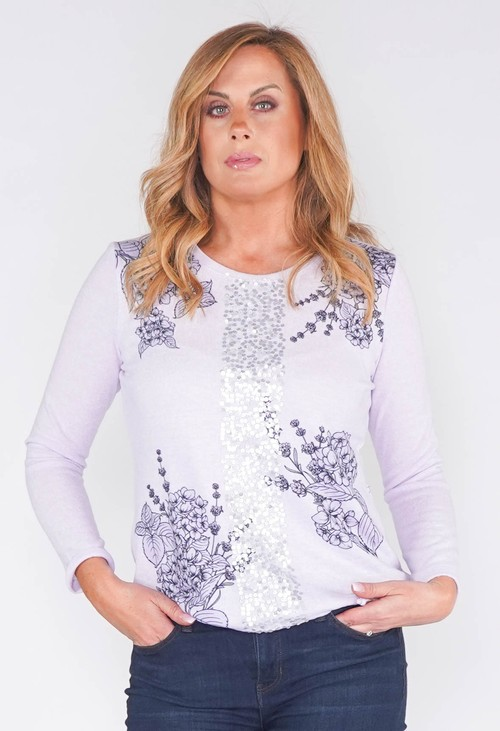 Twist FLORAL STENCIL DESIGN TOP WITH FRONT SEQUIN DETAIL