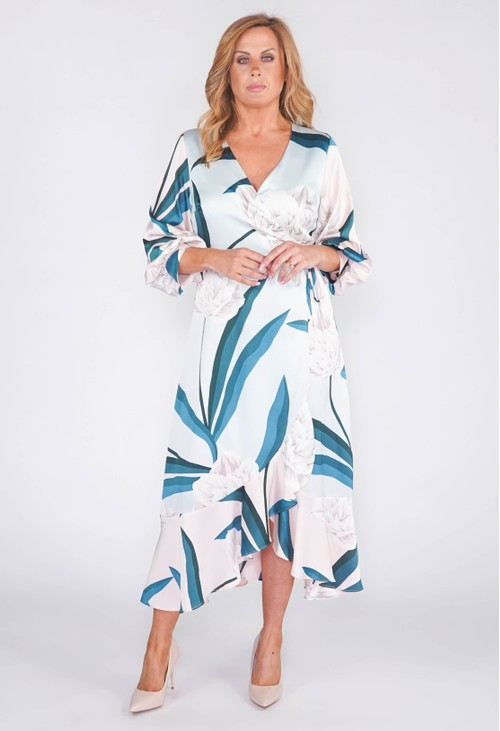 Pamela Scott LIQUORISH MIDI WRAP DRESS IN A MINT AND GREEN FLORAL PRINT