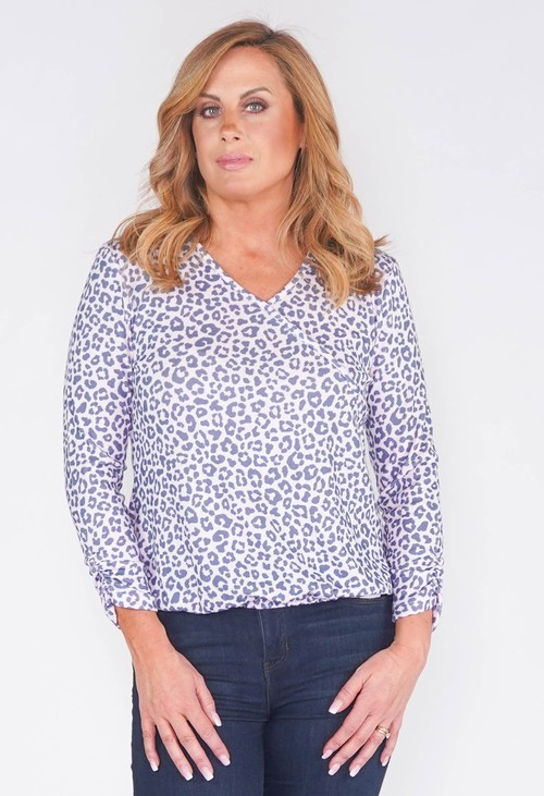 Twist SOFT LILAC ABSTRACT LEOPARD PRINT FAUX CROSSOVER TOP