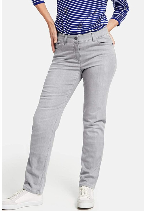 Gerry Weber five pocket jeans, straight fit jeans, light grey denim