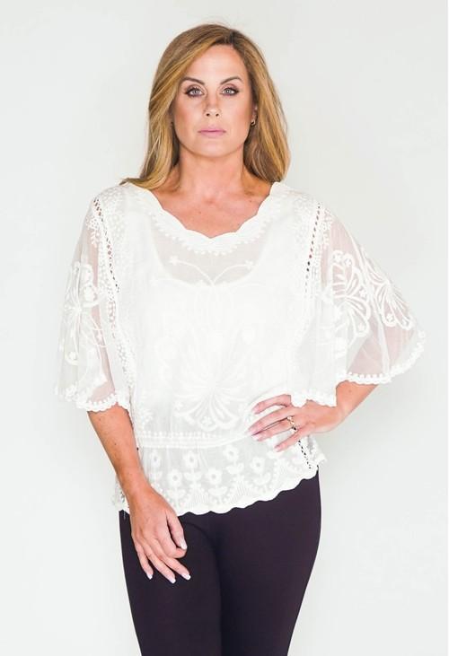 Pamela Scott White Crochet Cap Sleeve Top