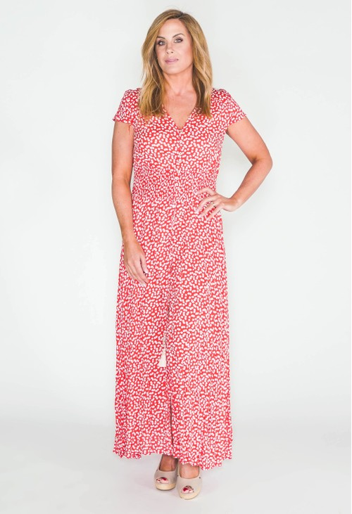 Pamela Scott printed maxi dress with button through front in red