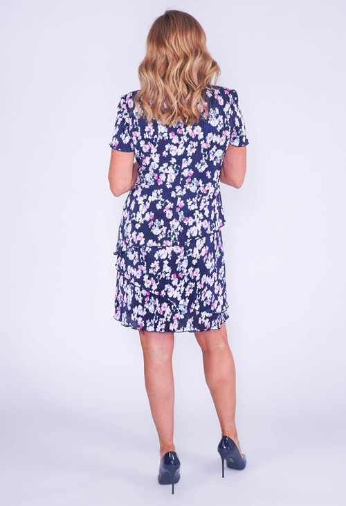 Connected NAVY PRINT FLORAL PRINT WITH ASYMMETRICAL PANELS