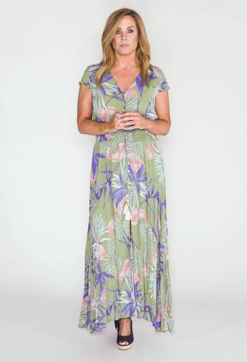 Pamela Scott printed button through maxi dress