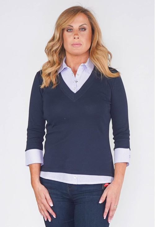 Twist 2-IN-1 COTTON TOP WITH LILAC OXFORD STRIPE