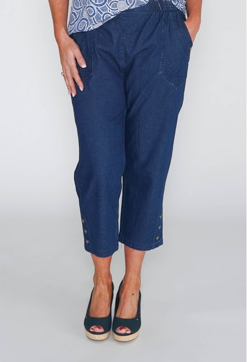 Pamela Scott CAPRIS WITH ELASTICATED WAIST IN SOFT DENIM