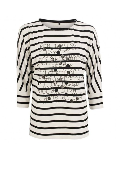 Gerry Weber cream stripe top with printed front