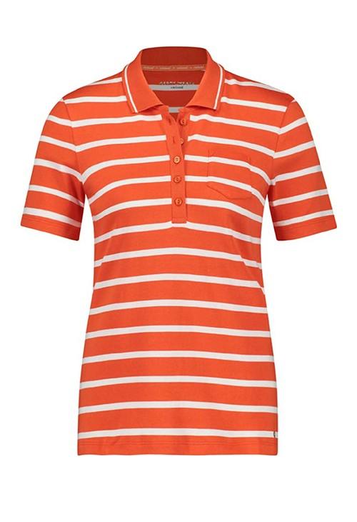 Gerry Weber stripe cotton polo shirt in orange