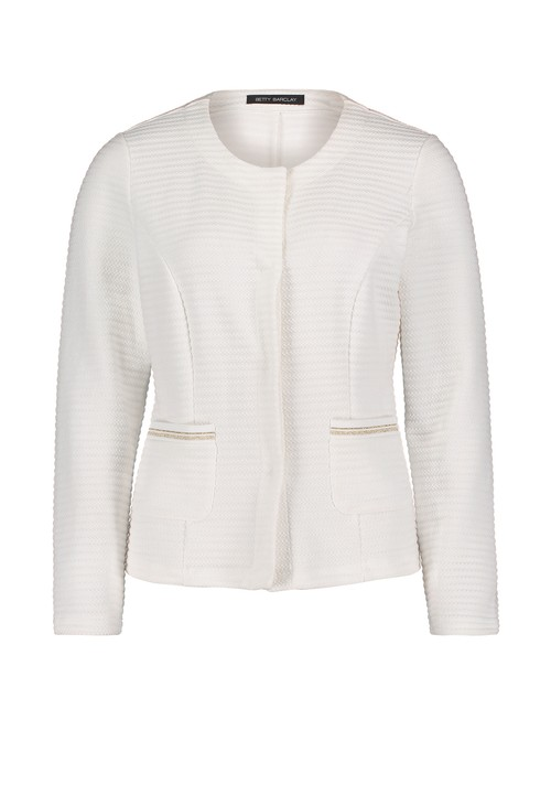 Betty Barclay Raw White Shirt Blazer with Patch Pockets