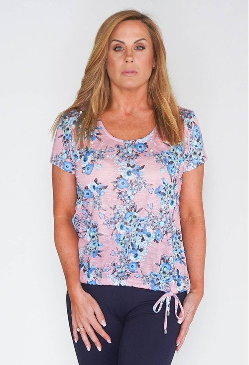 Twist SOFT SCOOP NECKLINE LINEN LOOK ½ SLEEVE TOP WITH FLORAL & PEARL DETAIL