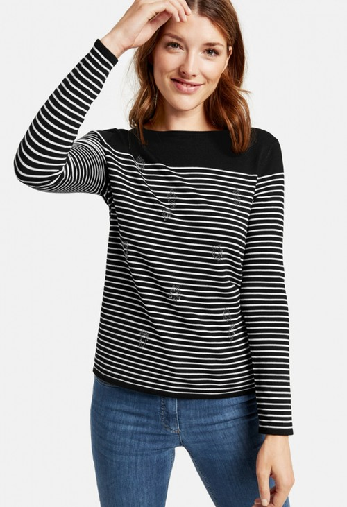 Gerry Weber striped jumper with diamante front in black