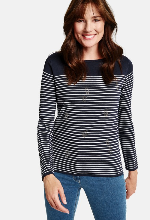 Gerry Weber striped jumper with diamante front in navy