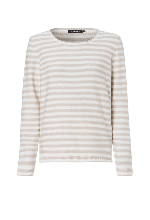 Olsen STRIPED ROLL NECK JUMPER BLUE