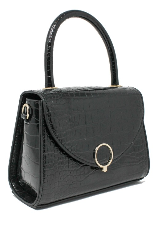 Bestini Black Croc Mini Handbag