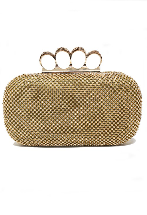 Pamela Scott DIAMANTE CLUTCH BAG IN GOLD