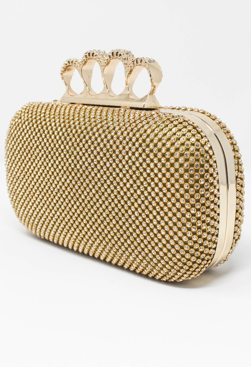 Pamela Scott DIAMANTE CLUTCH BAG IN GOLD