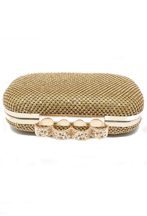 PS Accessories PAMELA SCOTT DIAMANTE CLUTCH BAG IN GOLD