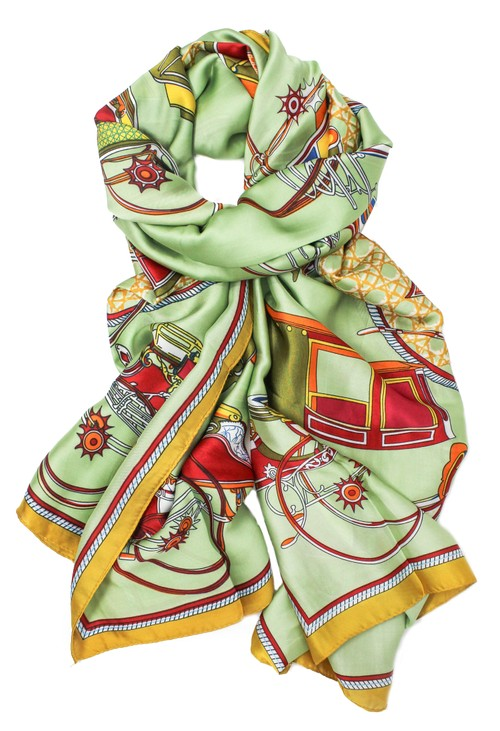 Pamela Scott Printed scarf in green