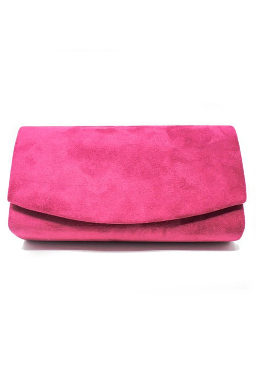 Pamela Scott Pink Faux Suede Clutch Bag