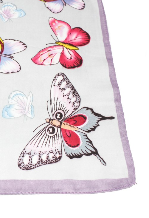 Pamela Scott butterfly printed scarf in lilac