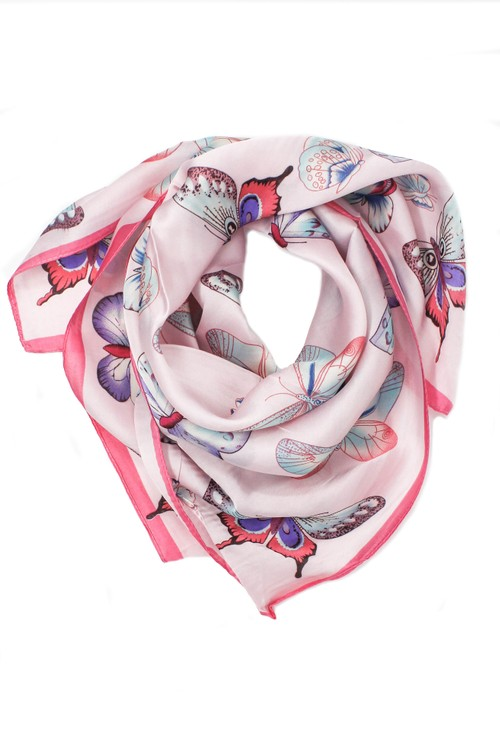 Pamela Scott butterfly printed scarf in pink