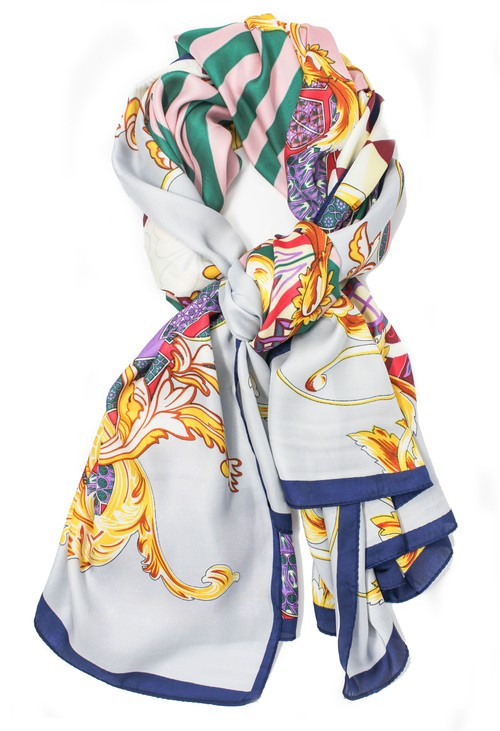 Pamela Scott printed scarf in lilac and navy
