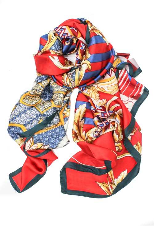 Pamela Scott printed scarf in red
